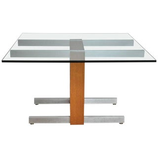 Vladimir Kagan Large Cubist Extension Dining Table in Oak, Aluminum and Glass