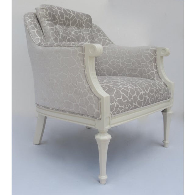 Circa 1950s-60s; Gorgeous and wonderfully restored vintage; Hollywood Regency club chair, Attributed to Dorothy Draper,...