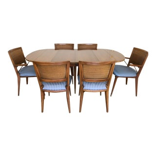 Widdicomb Mid Century Blue Striped Dining Set For Sale