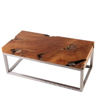 Rustic Solid Teak Top and Stainless Steel Base Coffee Table For Sale