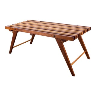 Multi-Wood Stained Slatted Bench For Sale