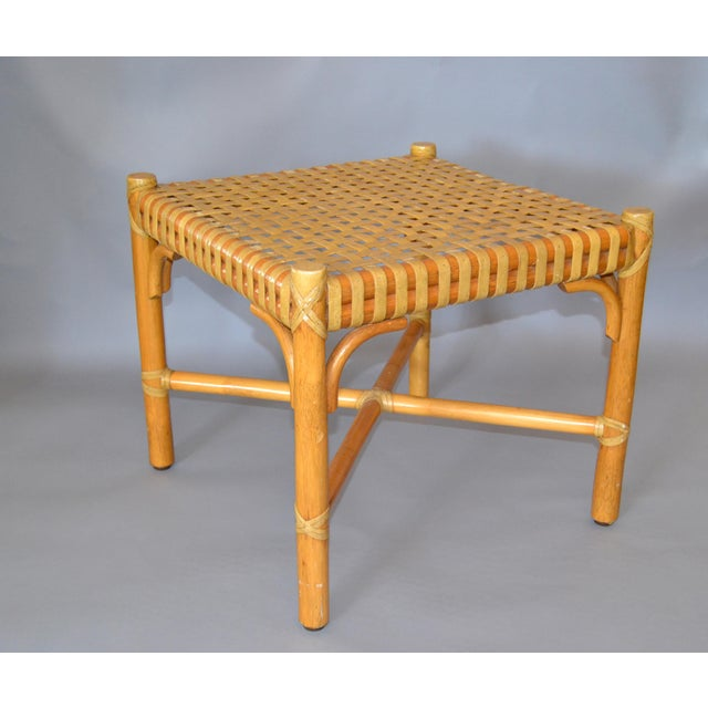 Original McGuire bamboo hand-woven leather top side table, end table, bedside table, stool with leather bindings. McGuire...