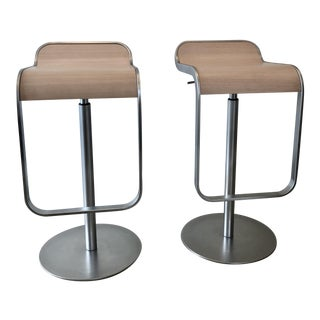 DWR Oak & Steel Lem Piston Stools - A Pair