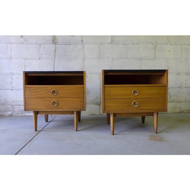American of Martinsville Mid-Century Walnut Nightstands - A Pair - Image 2 of 7