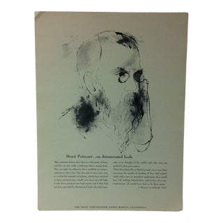"""1962 """"Henri Poincare - on Disinterested Fools"""" The Rand Corporation Famous People in History Print For Sale"""