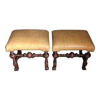 Traditional Leather Topped Stools - a Pair For Sale