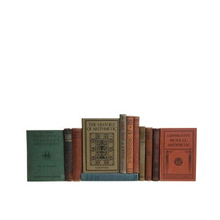 History of Mathematics Collection : Set of Twelve Decorative Antique Books For Sale