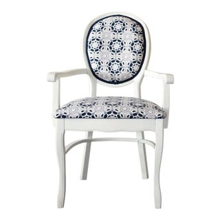 Pair of Refurbished Vintage Painted White Wooden Arm Dining Chairs