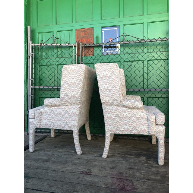 1960s Mid Century High Back Wingback Chair With Vintage Upholstery- A Pair For Sale - Image 5 of 12