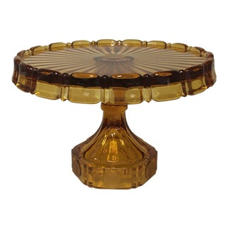 Fostoria Amber Coin Glass Buffet or Cake Stand For Sale