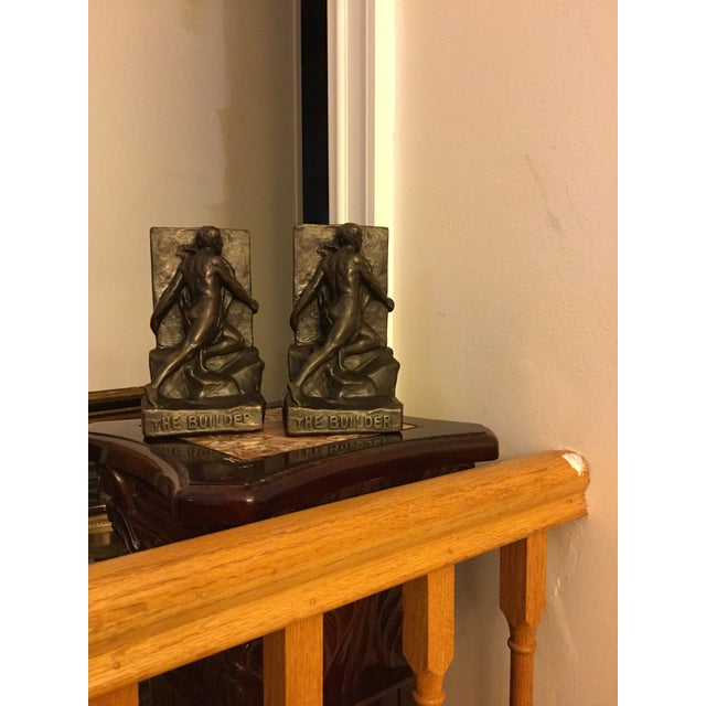 """Antique Kileny pair of bronze copper book ends circa 1900. Signed and copyrighted. 8"""" tall. Very rare to find in bronze,..."""