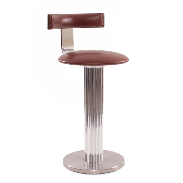 Four Leather and Chrome Barstools by Design For Leisure - Image 2 of 6