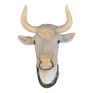 French Hand Painted Terracotta Butcher Cow Head Sculpture With Ring and Collar For Sale