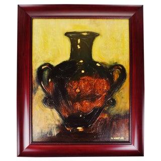 Vintage Framed Still Life Vase Oil on Canvas by Norman Wyatt Jr. For Sale
