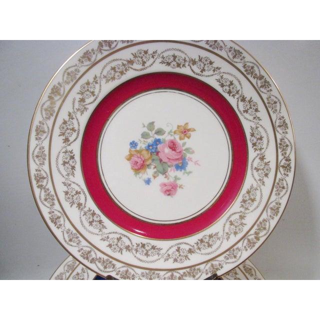 Traditional Edgerton Pickard M&r Marks & Rosenfeld Pink Rose Spray Dessert Plates - Set of 24 For Sale - Image 3 of 11