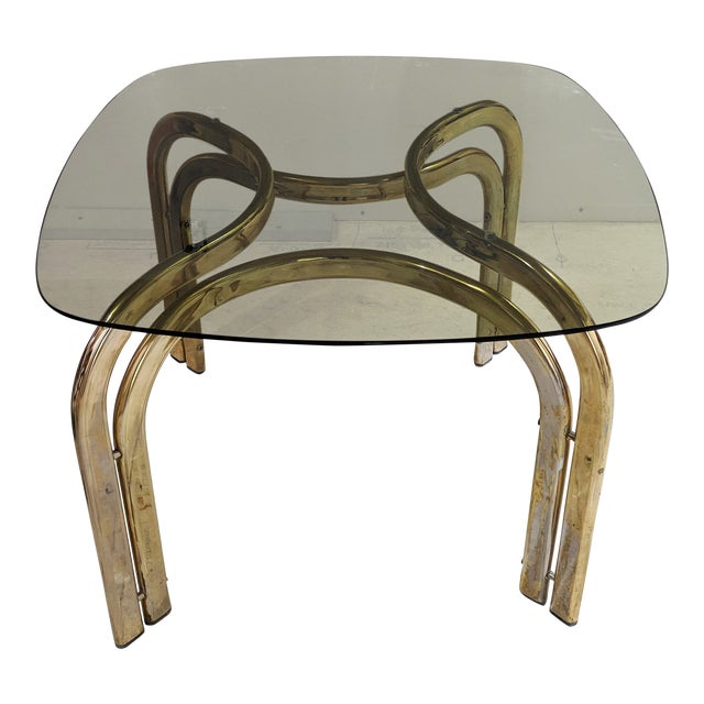 1980s Hollywood Regency Brass Coffee Table For Sale