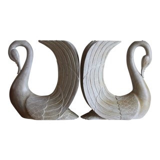 Vintage Hand Carved Solid Wood Twin Swan Console Table or End Table/Bar Table Bases - a Pair For Sale