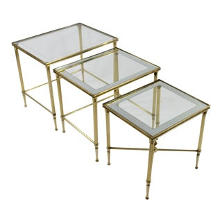 1960s Grand Tour Lebarge Brass Nesting Tables - 3 Pieces For Sale