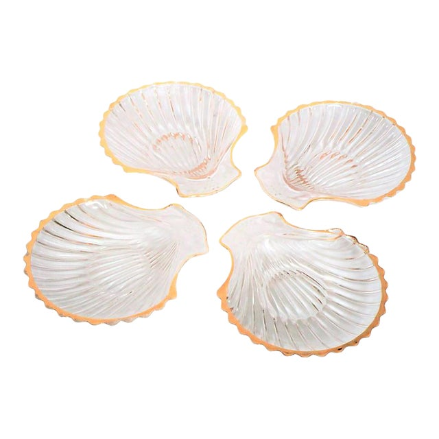 Gilded Shell Nut Dishes - Set of 4 For Sale
