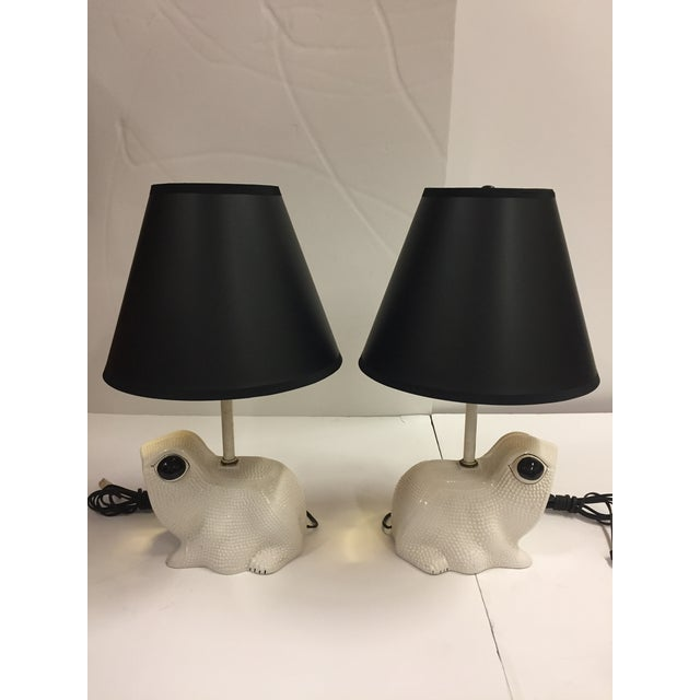 White Vintage Italian White Ceramic Hobnail Frog Lamp With Shades - a Pair For Sale - Image 8 of 13