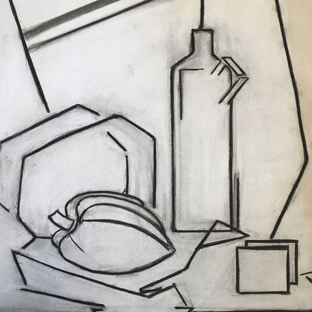 "Betsy Andker (1940 UC Berkeley/Art) Cubist Still Life 2 1930s Charcoal on paper Signed in charcoal lower right 19""x25""..."