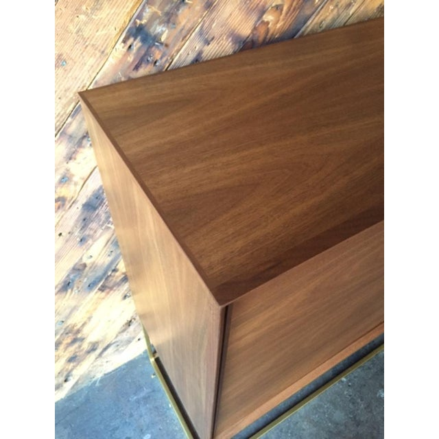 Custom Handmade Walnut Brass Base Credenza For Sale - Image 5 of 9