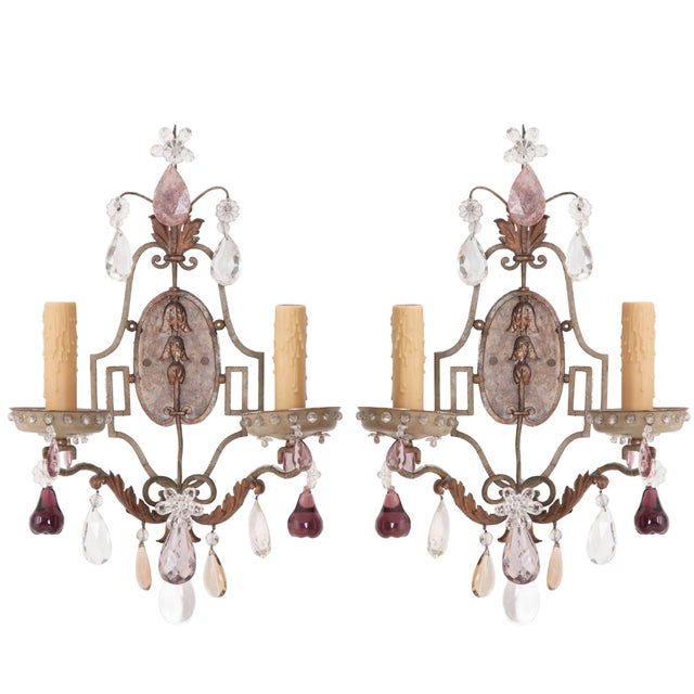 French Painted and Crystal Sconces - a Pair For Sale - Image 11 of 11