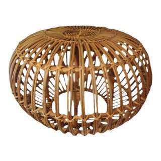 20th Century Franco Albini Woven Rattan Ottoman For Sale