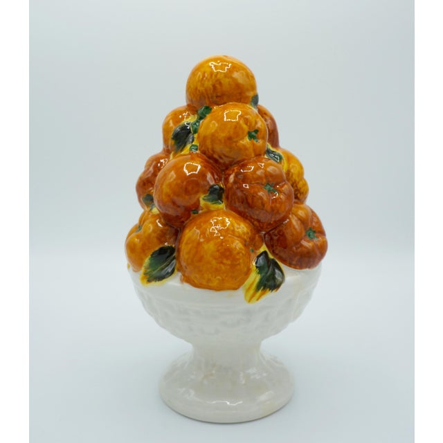 This is a bright and cheerful Italian Ceramic Oranges Fruit Topiary. Excellent condition, with no chips, cracks, or...