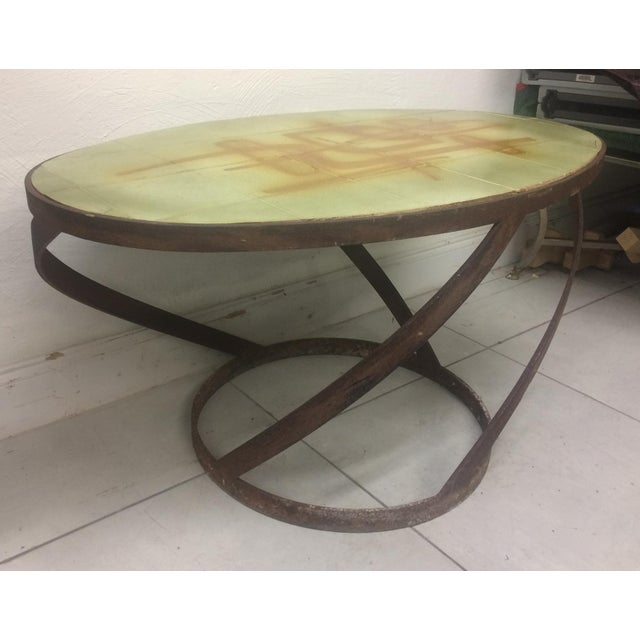 Green 1950s Vintage Abbaye Du Bec Abstract Tile Table From For Sale - Image 8 of 9