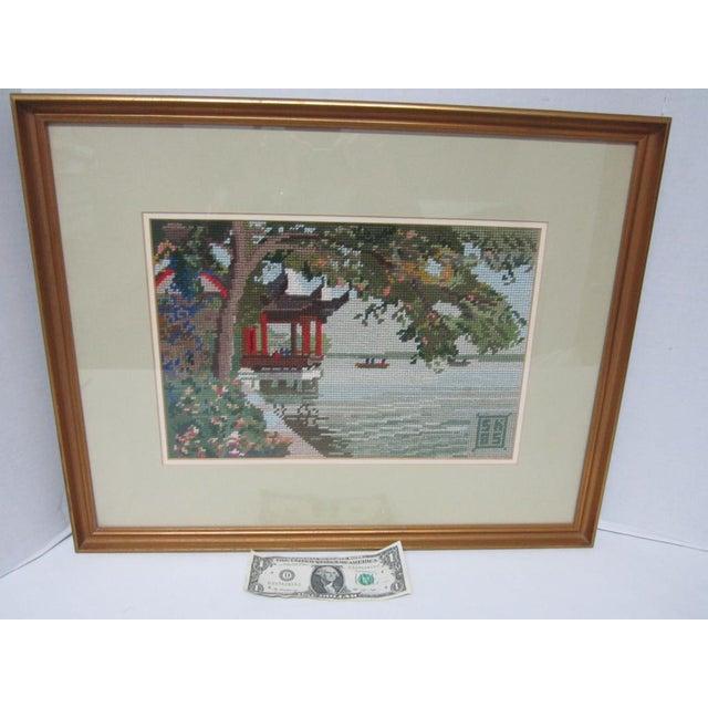 Oriental Asian Teahouse on the Lake Needlepoint - Image 10 of 11