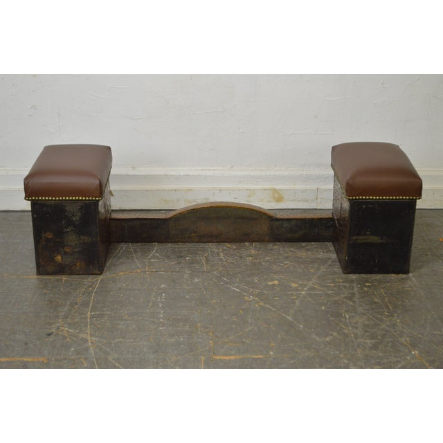 Antique English Arts & Crafts Hammered Copper Fireplace Fender w/ Leather Seats For Sale - Image 4 of 10