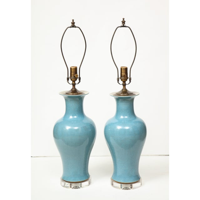 Ceramic Crackle Glazed Blue Vase Lamps - A Pair For Sale - Image 7 of 13
