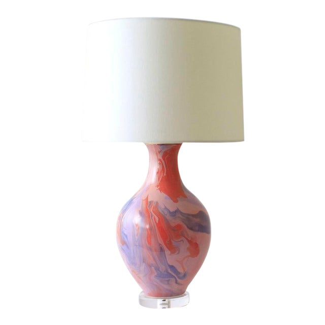 """Paul Schneider Ceramic """"Athens"""" Lamp in Geode Lilac and Powder Glaze For Sale"""