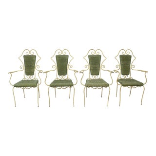 Early 20th Century Vintage French Iron & Rattan Bistro Garden Chairs- Set of 4 For Sale