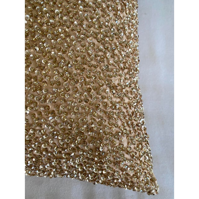 Embroidered Gold Sequined Pillows - A Pair For Sale - Image 4 of 8