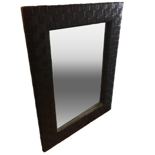 Vintage Leather Strapping Wall Mirror For Sale