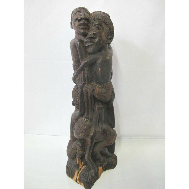 Vintage Makonde Tree of Life Wood Carving Sculpture Signed Amisi For Sale - Image 4 of 6