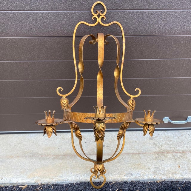 Mid Century Gilt Wrought Iron Three Arm Candle Sconce For Sale - Image 11 of 11