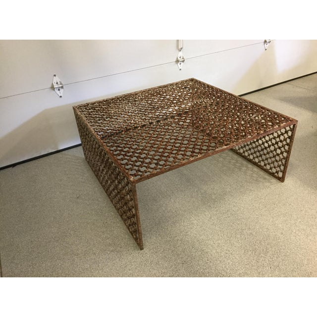 Rusted Iron Chain Link Coffee Table - Image 4 of 6