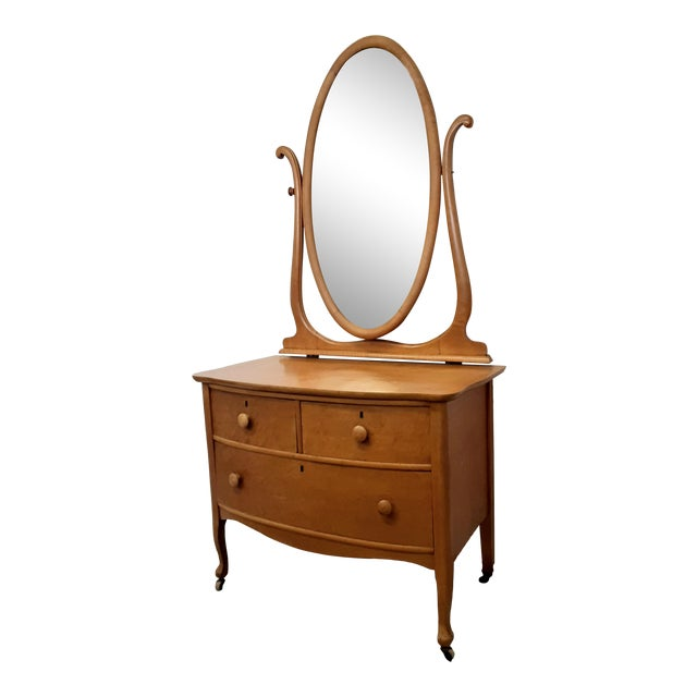 Early 20th Century Maple Vanity Dresser For Sale
