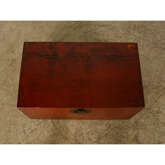 Red Large Antique Chinese Red Lacquer Trunk Kuang Hsu period circa 1875 For Sale - Image 8 of 10