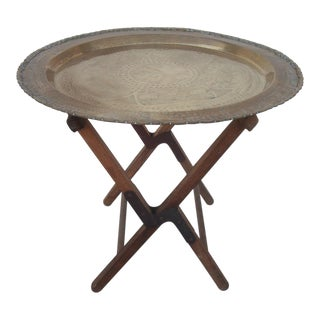 Moroccan Brass Tray Table & Camp Stool Base For Sale