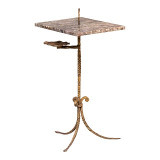 Spanish Marble and Gilt Iron Side Table With Ashtray Holder For Sale