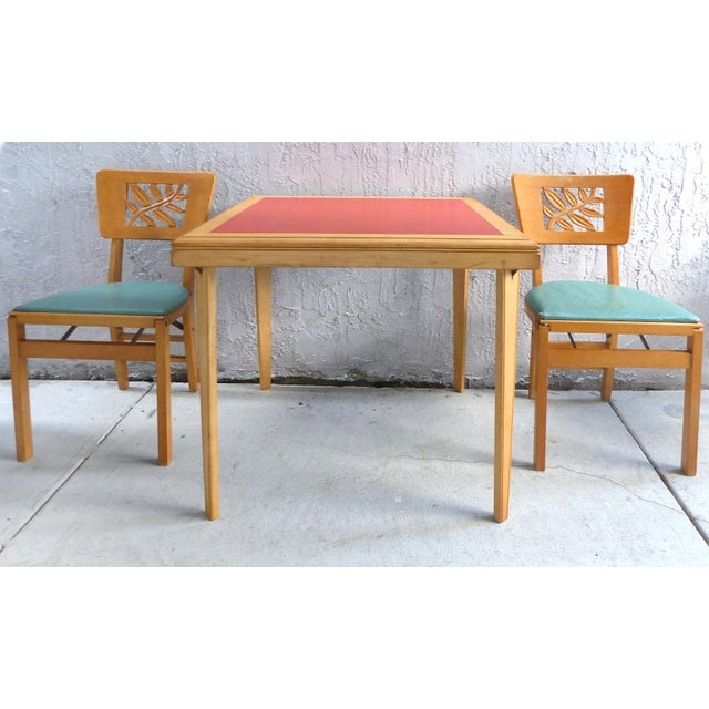 Mid Century Modern Folding Wood Card Table Folding Chairs Set Of - Mid century modern card table