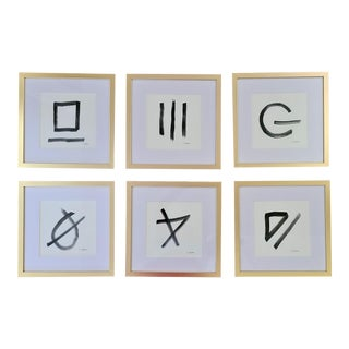 Modern Hand Painted Ink Studies in Gold Frames - Set of 6 For Sale