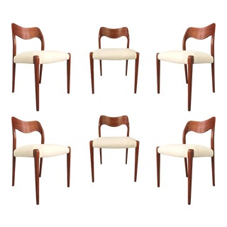 1950s Vintage Niels O. Moller Solid Teak Chairs- Set of 6 For Sale