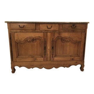 Antique Oak and Marble Dining Room Sideboard For Sale