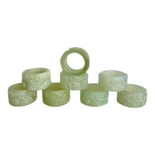 Set of 8 Jadeite Carved Asian Napkin Rings For Sale