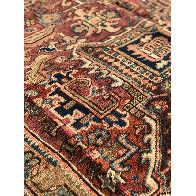 1940s 1940s Vintage Persian Heriz Large Area Rug - 9′5″ × 11′10″ For Sale - Image 5 of 13